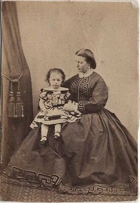 CDV photo Victorian Mother with Child Hooped Dress Fashion - London Studio 1860s