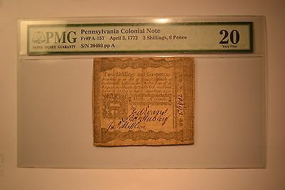 Pennsylvania: April 3, 1772 2s6d PMG Very Fine 20.