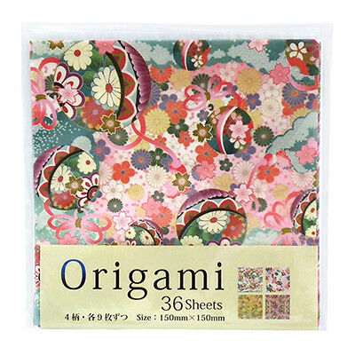 JAPANESE CHIYOGAMI PAPER 36 sheets 4 designs 15x15cm