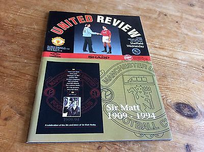 Manchester United v Sheff Wed 93/94 inc. 16 page Tribute to Sir Matt Busby