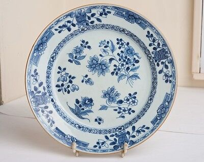 Antique Chinese Blue and White Floral Pattern Porcelain Plate 18th/19th Century