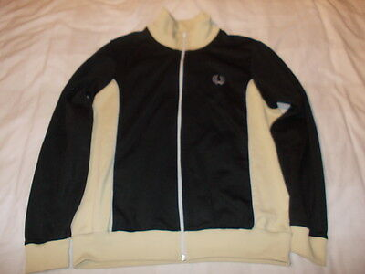 Fred Perry Tracksuit Top - Black & Beige - Size Large (True Vintage)