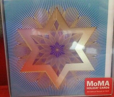 NIB Hannukah Holiday Cards Set of 8 Museum of Modern Art Gold Foil Star of David