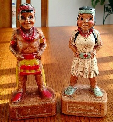 """Vintage 1953 Multi-Products Inc. Indian Boy Indian Girl Figure 6 3/4"""" Tall"""