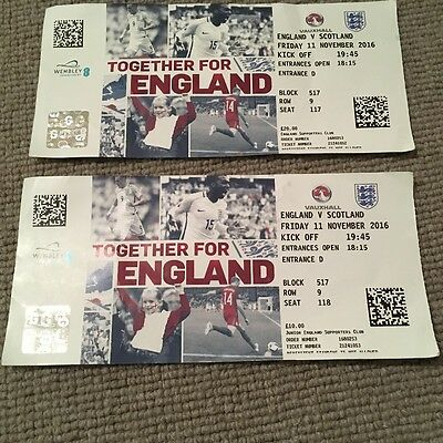 England V Scotland Match Tickets, World Cup Qualifier 11/11/2016 (Used)
