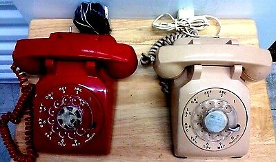 Lot of 2 Vintage Rotary Phones, One Red ITT and One Beige  Bell System