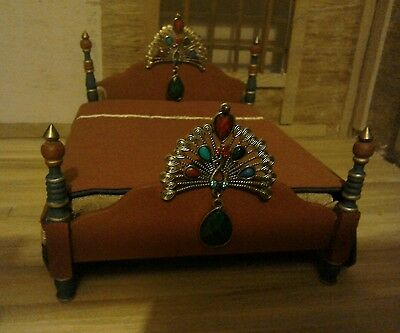 dolls house double bed, 12th scale, egyptian style