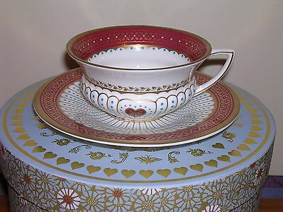 Wedgwood Tea Cup & Saucer  ~ Queen Of Hearts Design ~ Boxed