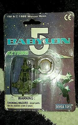 "Vintage BABYLON 5 KEYRING ""BABYLON 5 green ship"" (DORDA TOYS) NEW! Ish"