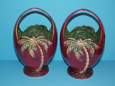 Pair of Vintage Rare Beswick 1070 Palm Tree Vases