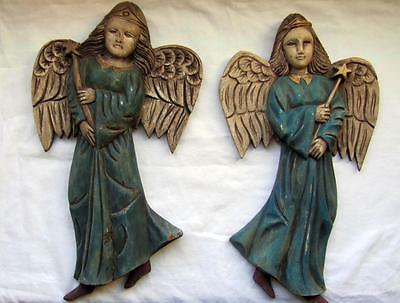 """Set of 2 Large 16.5"""" Tall Folk Art Hand Carved Wooden ANGELS Wall Hanging"""