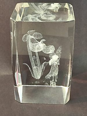 3D Fairy Angel Flowers Birds animals GLASS PAPERWEIGHT Laser Etched Crystal Cube