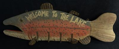 """Vintage Wooden """"Welcome to the Lake"""" Fish Trade Sign Hand Painted"""