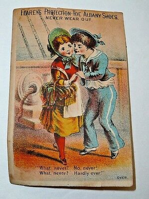Antique Vintage Victorian Trade Card Fearey's Protection Toe Albany Shoes NJ
