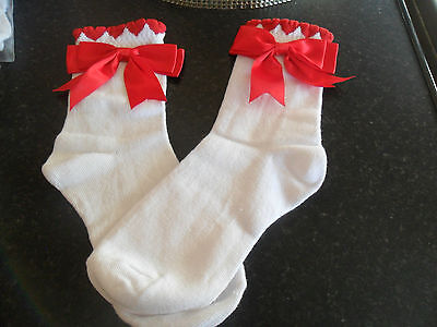 romany girl SPANISH STYLE RED HEART  bow BACK TO school sock SIZE 9 - 12