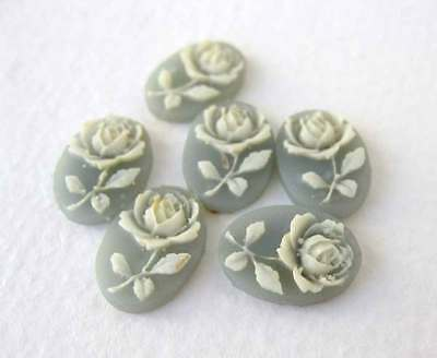 Vintage Flower Cabochon Cameo White Rose Grey Resin 14x10mm