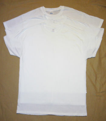 Mens Hanes 100% Cotton T-Shirts L Large Lot of 3 White NEW