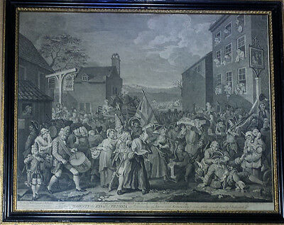 1750 Antique Etching painted by Will Hogarth 'A representation of the march'
