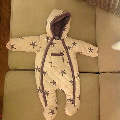 Mamas And Papas, Baby Girl snowsuit, Pramsuit, Padded, 0-3, Pink