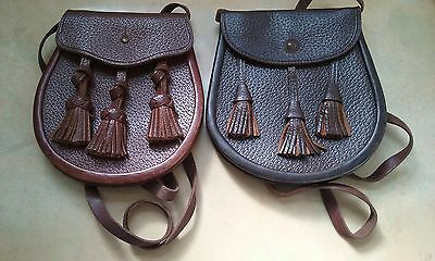Pair of vintage highland Scottish traditional leather sporrans