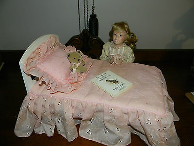 Gorham Porcelain Doll Praying By Bed, Pillow, Teddy Bear & Book