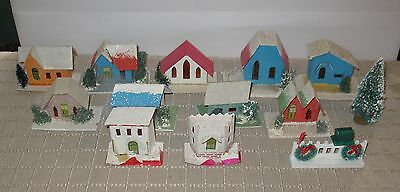 Vintage Christmas House Cardboard Paper Houses Lot of 11 +  FREE SHIPPING