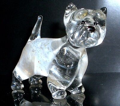 """Hand Blown """"murano"""" Glass Collectable  West Highland White Terrier Dog Figurine"""