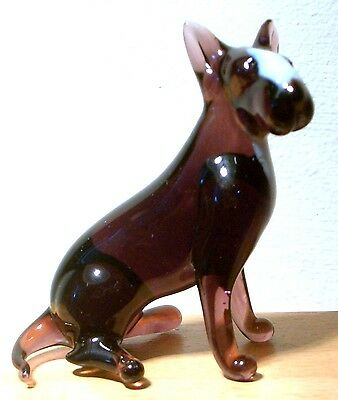 """Hand Blown """"murano"""" Glass Collectable Sitting Bull Terrier  Dog Figurine"""