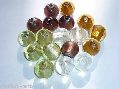 20 x Silver Foil Glass Lampwork 17mm Round Beads for Craft Jewellery Making  R29