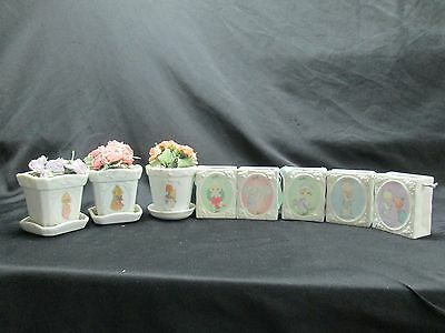 8 Precious Moments Boxes and Flower Pots