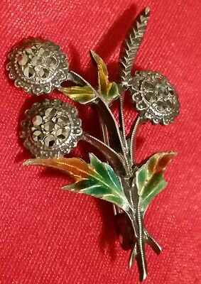Pretty Vintage Silver, Enamelled Floral & Marcasite Brooch