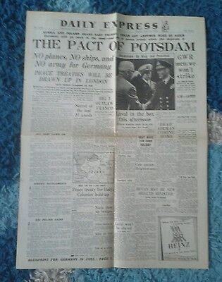 VINTAGE EXPRESS NEWSPAPER WW2-Aug 3rd 1945- The Pact of Potsdam.