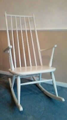 Danish Modern Vintage White Rocking Chair
