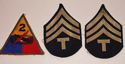 WWII US Army 2nd Armor Division Insignia Tank Lot w/ Rank Patch - Just Like FURY