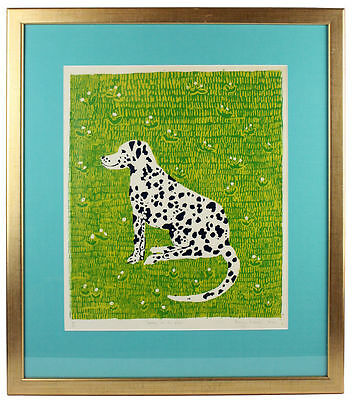 Original Vintage Screen Print  'Spotty in the Grass' Dalmatian by Penny Melini
