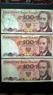 Lot Poland 100 Zlotych 3 Banknotes 1986-1988