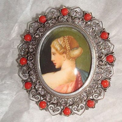 Vintage Silver Cameo Filigree Pin Brooch Pendant w/Coral Beads