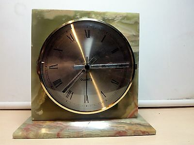 Large & Heavy Vintage Quartz Onyx Carriage Clock.