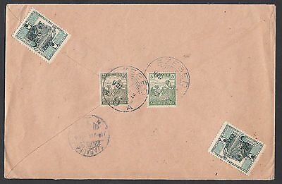 Hungary 1918 Registered Cover With 2 Vignettes