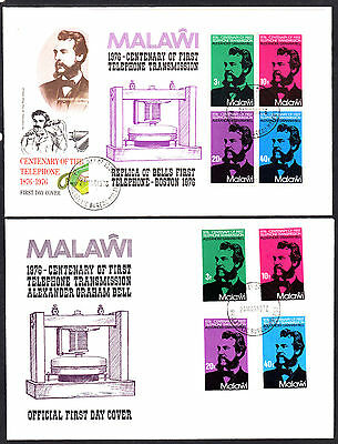 Malawi 1976 Telephone Centenary Set & Minature Sheet First Day Covers