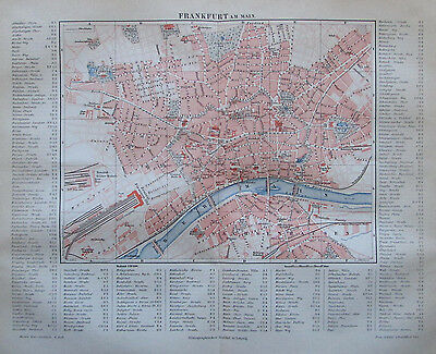 1889 FRANKFURT AM MAIN alter Stadtplan antique city map Lithographie Hessen