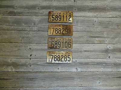 1938 Michigan License Plates.  Vintage lot of license plates.