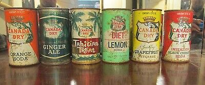 (6) Different Canada Dry Flat Top Soda Cans !!!!