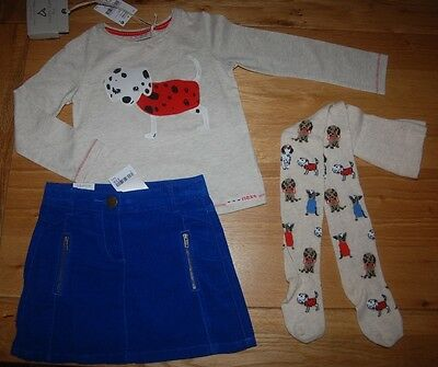 BNWT NEXT 2-3 years girls TOP*TIGHTS WITH DOGS CORD BLUE SKIRT SET/BUNDLE!