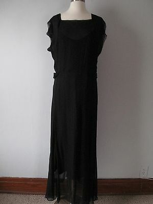 Vintage 1930s Black Chiffon Evening Gown - Dress - Holiday