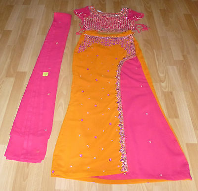 Brand New Hot Pink & Orange Embroidery Indian Lehenga Outfit - Size 6/8
