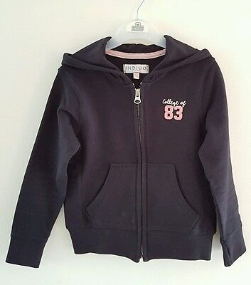 Lovely M&S Girls Black Hoodie Cardigan Tracksuit Top Size 5-6 Years *VGC*