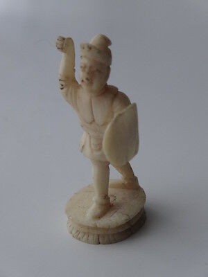Antique Japanese Netsuke Hand Carved Warrior with Shield
