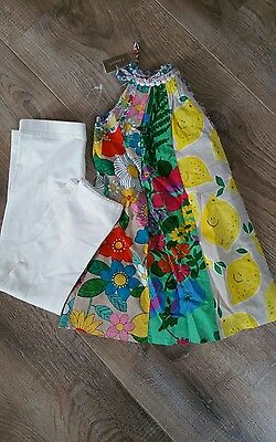 Bnwt Next Summer Outfit, Floral Strappy Top And White Leggings Size 3-4 Year