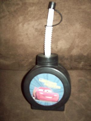 "Childs Cars  Lightning Mcqueen Cup With Straw And Cover Black 8"" H"